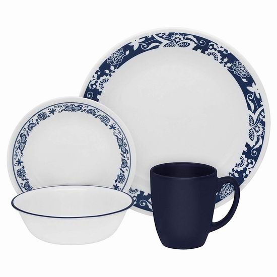历史最低价!Corelle 康宁 3567 Livingware True Blue 餐具16件套4.2折 36.97加元包邮!