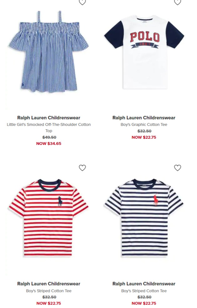 折扣升级!精选 Ralph Lauren 、Nike、GUESS、Tommy Hilfiger 等儿童品牌服饰3折起清仓+额外7.5折!