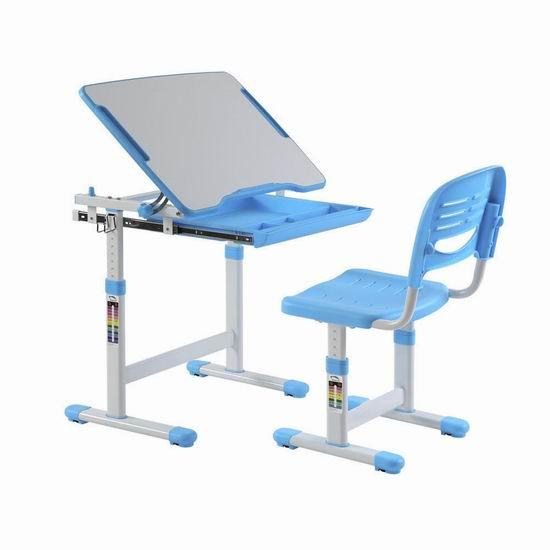PrimeCables 可调高度 人体工学 儿童(3-14岁)书桌+椅子套装 79.99加元包邮!3色可选!