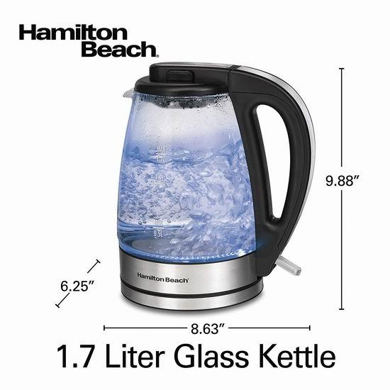 历史新低!Hamilton Beach 40865C 1.7升蓝光玻璃电热水壶4.3折 27.98加元清仓!