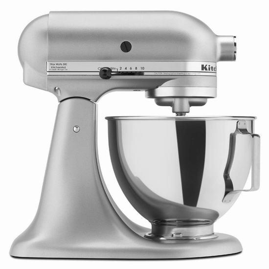 历史新低!KitchenAid KSM85PBSM 4.5夸脱 经典立式 多功能搅拌厨师机 249.99加元包邮!