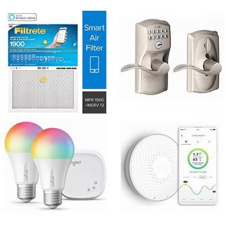 精选 Filtrete、Schlage、Weiser、Airthings 等品牌智能门锁、智能灯泡、智能开关、智能氡气检测器、智能空调暖炉过滤网、智能插座等2.3折起!会员专享!