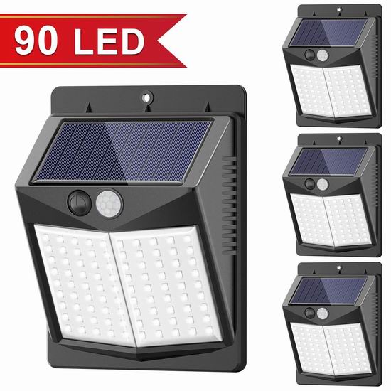 历史新低!SEZAC 90 LED 超亮太阳能防水运动感应灯4件套 24.99加元!