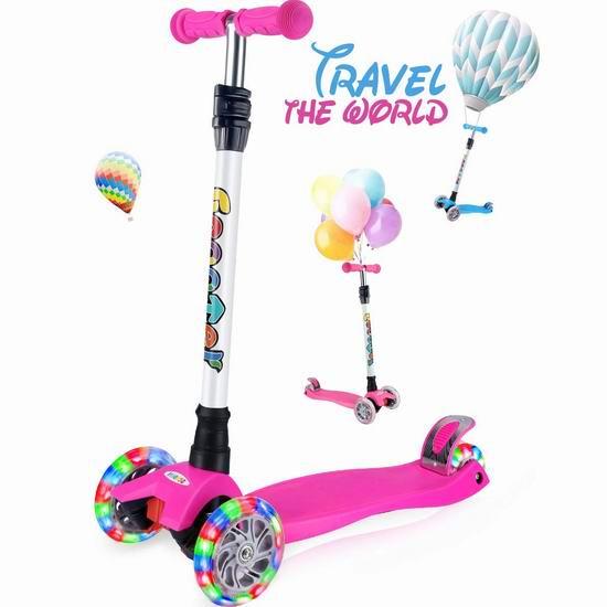 OUTON 炫酷LED轮 可折叠 儿童三轮滑板车 47.96加元限量特卖并包邮!3色可选!