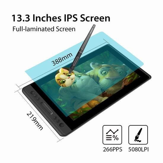 HUION 绘王 KAMVAS Pro 13 专业手绘数位屏 321.65加元限量特卖并包邮!