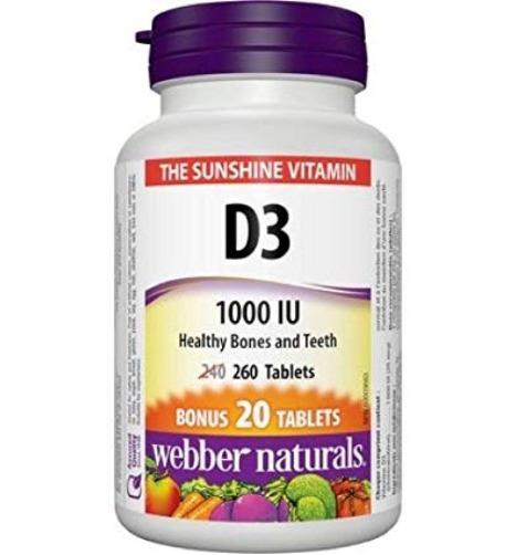 Webber Naturals 维生素D3软胶囊1000IU 260粒 5.2加元,原价 7.46加元