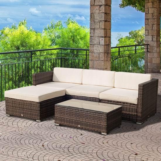 Outsunny 庭院软垫藤条沙发+茶几5件套5折 499.99加元包邮!