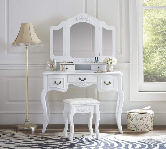 超级白菜!Fineboard FB-VT04-W 复古梳妆台桌椅套装0.9折 108.25加元包邮!