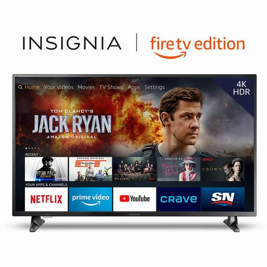 历史最低价!Insignia 50英寸 4K超高清 Fire TV版智能电视 399.99加元包邮!