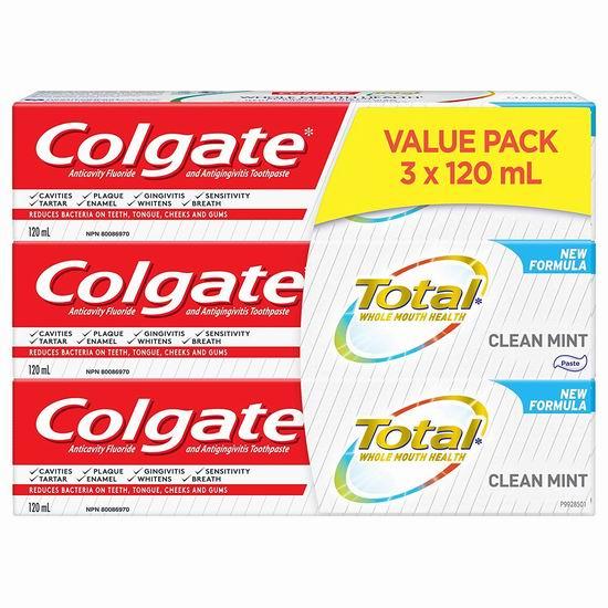 历史新低!Colgate 高露洁 Total 薄荷口味 抗菌防蛀美白牙膏超值装(3 X 120ml) 6.97加元