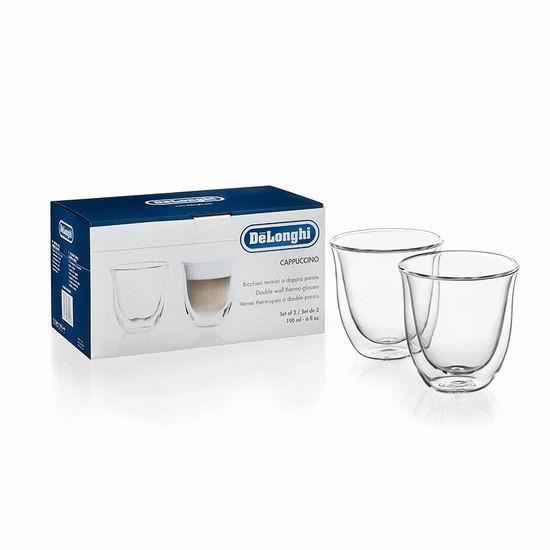历史新低!Delonghi 德龙 6盎司 双壁绝热保温玻璃杯/咖啡杯/茶杯2件套4折 10加元!