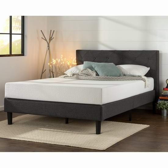 Zinus Upholstered Diamond 布艺软垫 Queen 床头板+床架 256.44加元包邮!