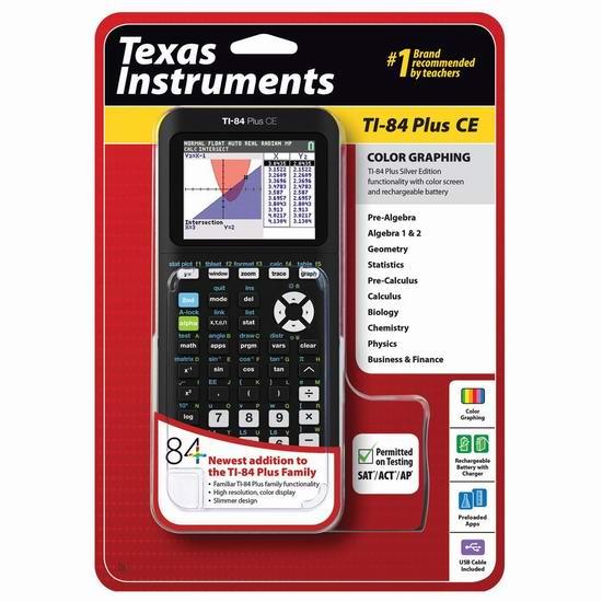 历史新低!Texas Instruments 德州仪器 TI-84 Plus CE 彩屏图形计算器 134.99加元包邮!