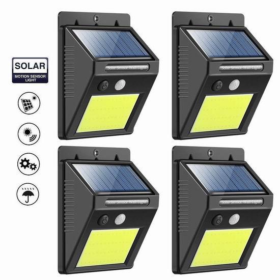 KINGHOT 48 COB LED 600流明 超亮 太阳能防水运动感应灯4件套 27.59加元清仓!