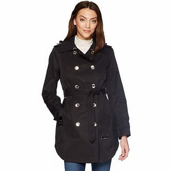 白菜价!Calvin Klein 防风防水 经典时尚双排扣连帽风衣(XS码)2.2折 54.45加元包邮!
