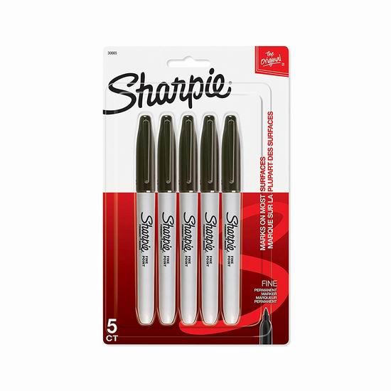 Sharpie 永久记号马克笔5件套 2.99加元!