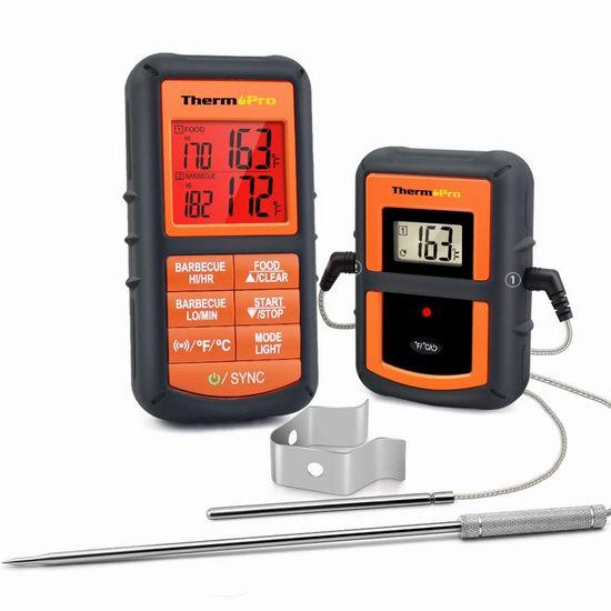 金盒头条:ThermoPro TP-08 300英尺无线远程温度计\计时器3.5折 44.99加元包邮!