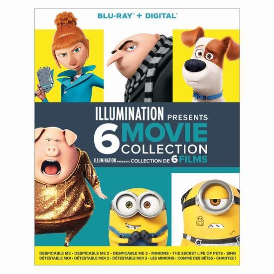 金盒头条:《Illumination Presents 》小黄人等动画电影6合一蓝光影碟套装4折 35.99加元包邮!
