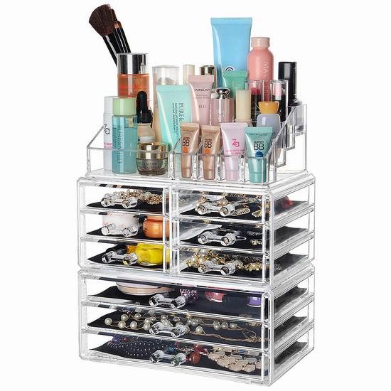 SortWise 9抽屉 透明化妆品首饰收纳盒3件套 29.74加元限量特卖并包邮!