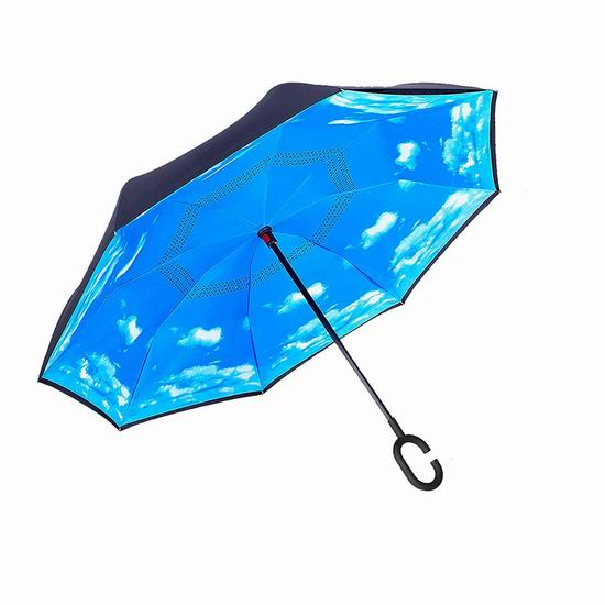 WJASI 双层抗风 防紫外线 创意雨伞/倒伞 16.14加元限量特卖!