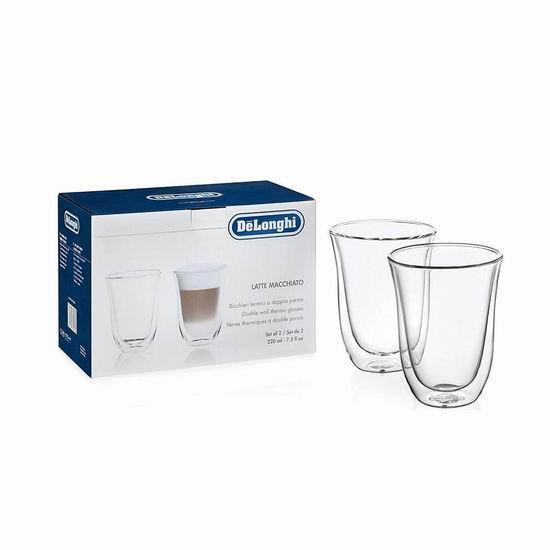 史低手慢无!Delonghi 德龙 7.5盎司 双壁绝热保温玻璃杯/咖啡杯/茶杯2件套4折 10加元!