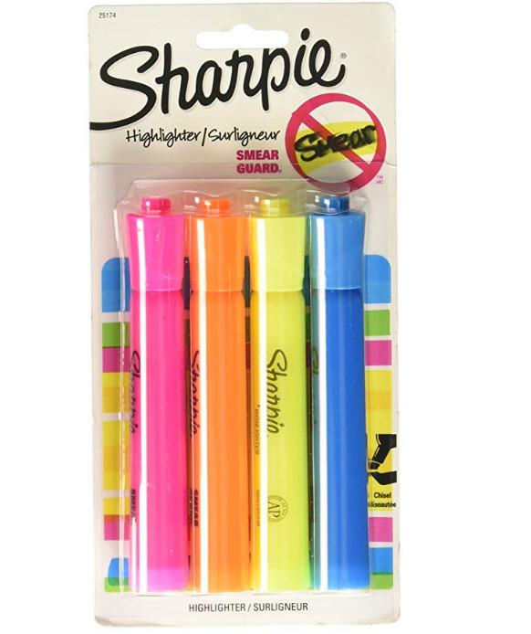 Sharpie ACCENT荧光笔 4支 1.97加元,原价 13.68加元