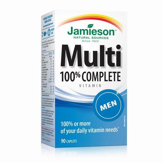 Jamieson 健美生 100% Complete 男士复合维生素(90片)4.5折 7.68加元包邮!