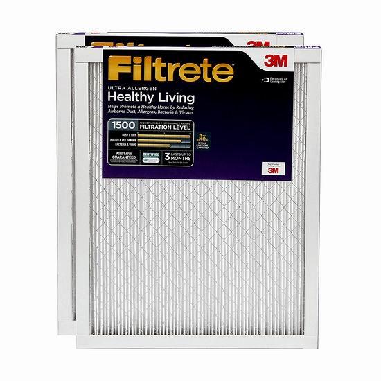 历史新低!Filtrete 16x25x1 MPR 1500 防过敏家庭空调暖气炉过滤网(2个装) 23.99加元!