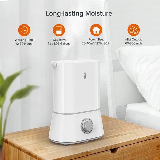 TaoTronics 4升大容量超声波雾化加湿器 44.99加元包邮!