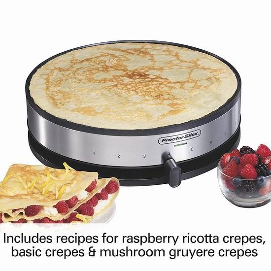 历史新低!Proctor Silex 38400 13英寸电煎饼机5.1折 39.1加元!烙饼、烤肉神器!