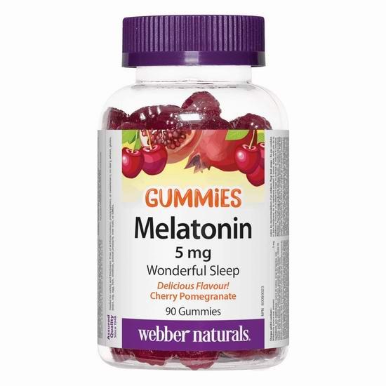 历史新低!Webber Naturals 韦博 Melatonin 褪黑素软糖(5mg x 90粒)5折 6.99加元!