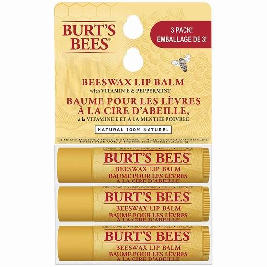 历史最低价!Burt's Bees 小蜜蜂 纯天然蜂蜡润唇膏3支装 8.73加元!