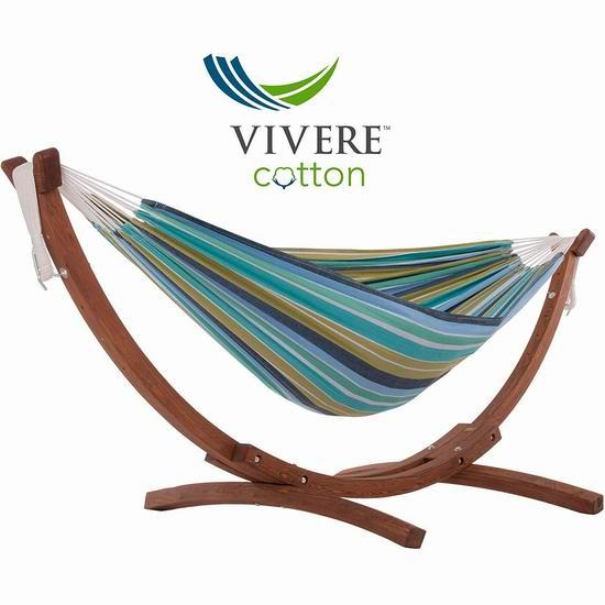 白菜价!历史新低!Vivere C8SPCT 精品双人纯棉吊床+实木支架套装3.1折 130.88加元包邮!
