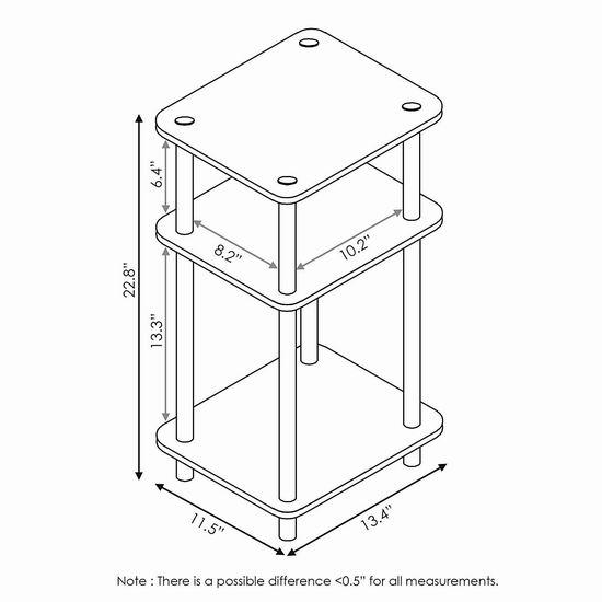 Furinno 11087GYW/BK 双面两种风格 三层边桌3.4折 21.47加元!