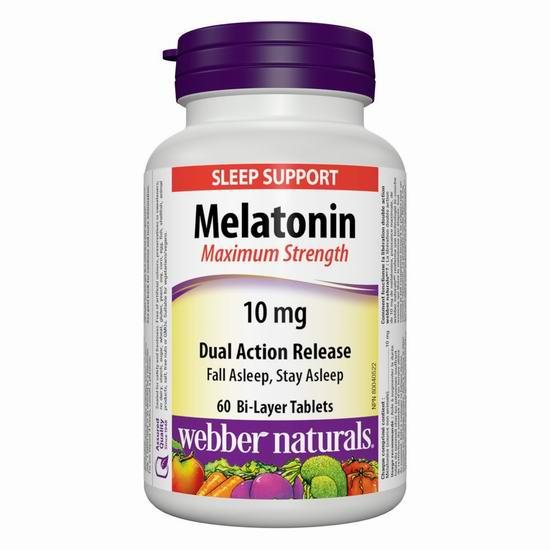 Webber Naturals 韦博 Melatonin 褪黑素双效缓释片(10毫克 x 60片)8.82加元