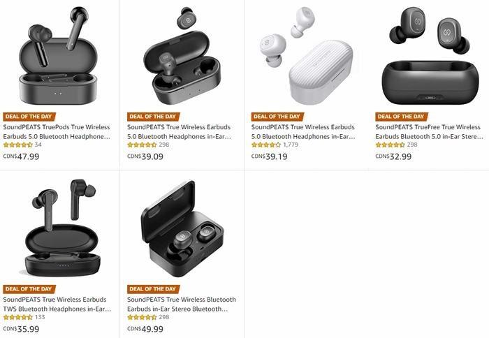 金盒头条:精选 SoundPEATS TWS 真无线 蓝牙耳机 32.99加元起!多款可选!