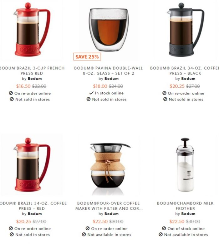 精选 Bodum 双层玻璃杯、茶壶、法式压滤壶、不锈钢保温杯等7.5折
