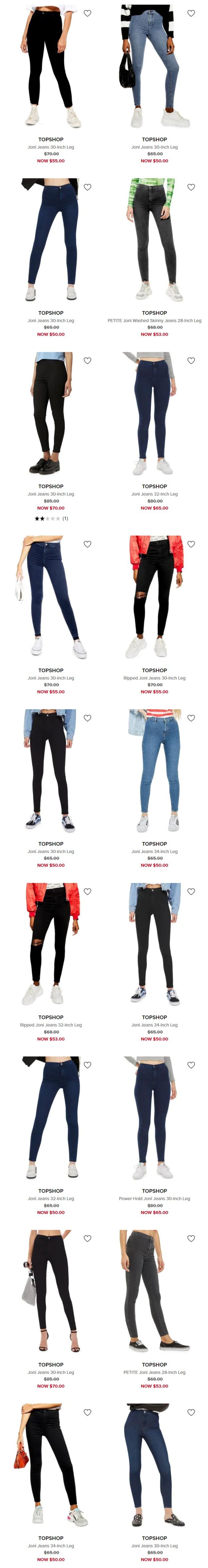 精选TOPSHOP 上身效果超棒 时尚牛仔裤 30加元起特卖!