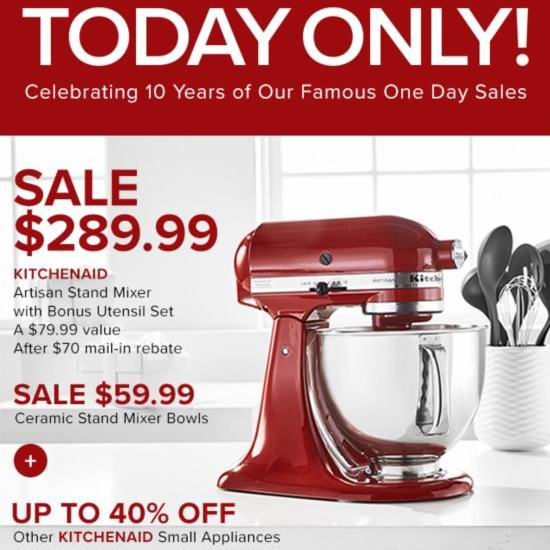 KitchenAid 厨宝 Artisan 名厨系列5夸脱多功能厨师机 变相4.4折 262.99加元!超多色可选!