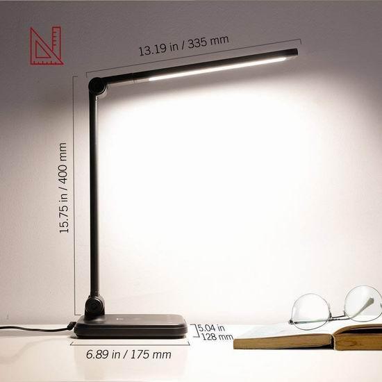 TaoTronics 8W 可调亮度LED护眼台灯 36.09加元包邮!带有线及无线充电功能!