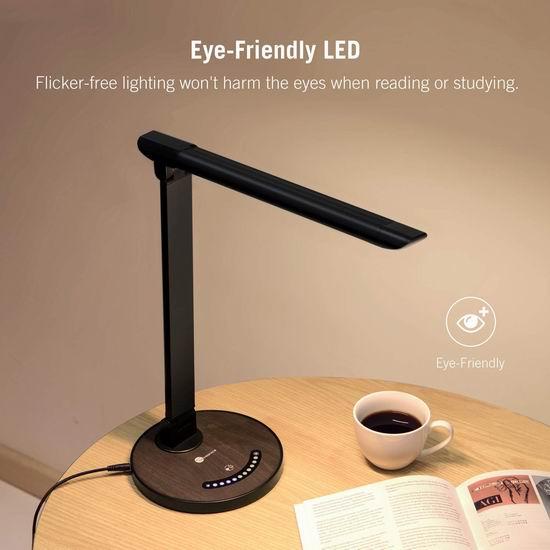 TaoTronics TT-DL13 12瓦 可调亮度LED护眼台灯 30.19加元限量特卖并包邮!带USB充电口!2色可选!