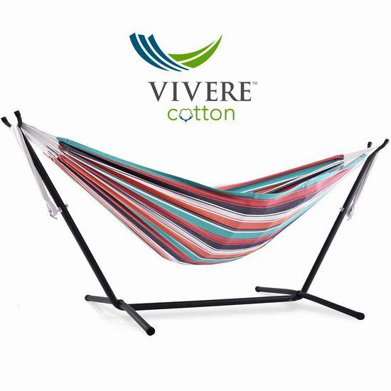 Vivere Double 棉制双人吊床+金属支架套装5.9折 117.47加元包邮!