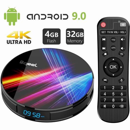 Bqeel 4K超高清流媒体播放器/网络电视机顶盒(4GB/32GB) 54.49加元限量特卖并包邮!
