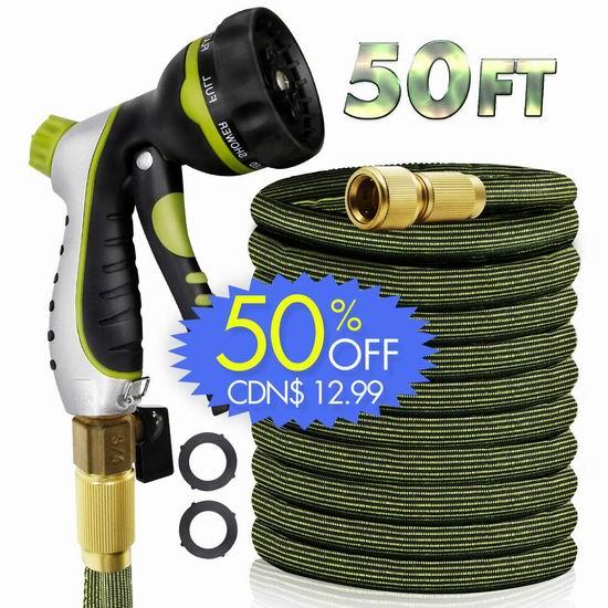 白菜价!RioRand 50/75英尺 花园浇水 伸缩水管+喷头 12.99-17.99加元清仓!