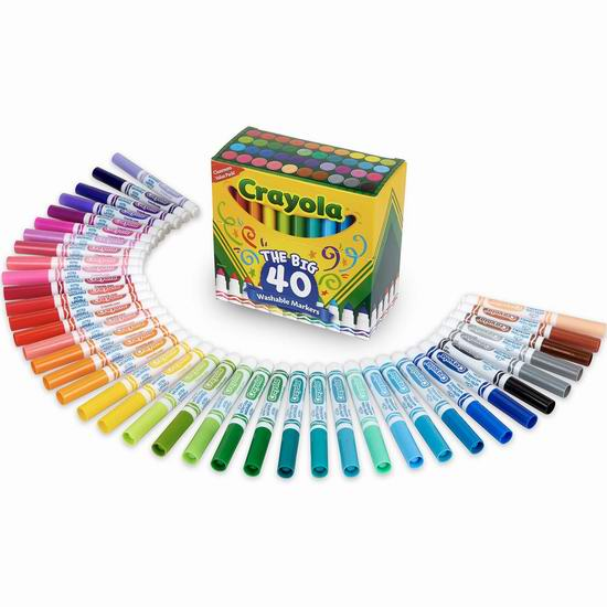 历史新低!Crayola 绘儿乐 40色超清洁 可水洗彩色马克笔 16.16加元!