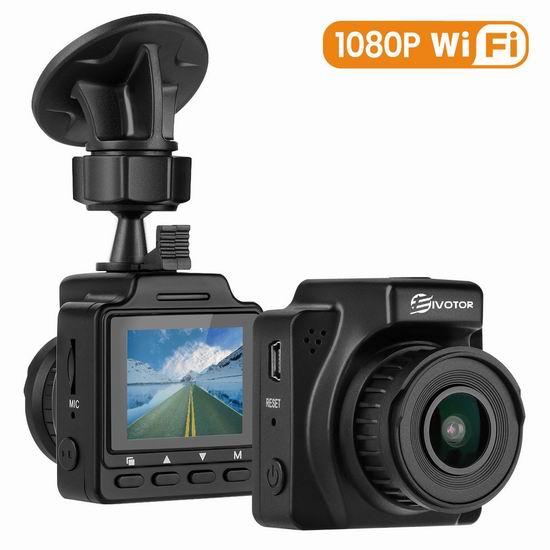 白菜价!EIVOTOR 1080P全高清大广角 WiFi行车记录仪 33.99加元!