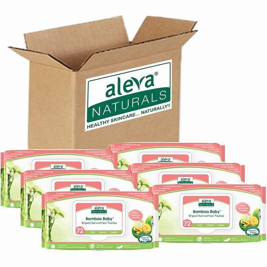 Aleva Naturals Bamboo 天然竹纤维 婴幼儿湿巾纸(6包) 21.97加元!2款可选!
