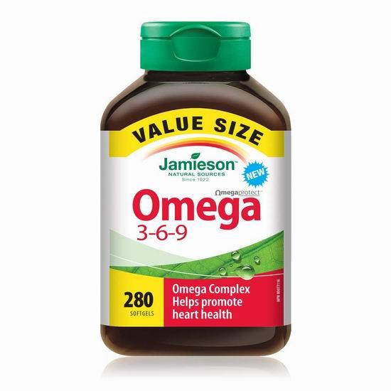 Jamieson 健美生 Omega 3-6-9 鱼油(280粒) 14.31加元!