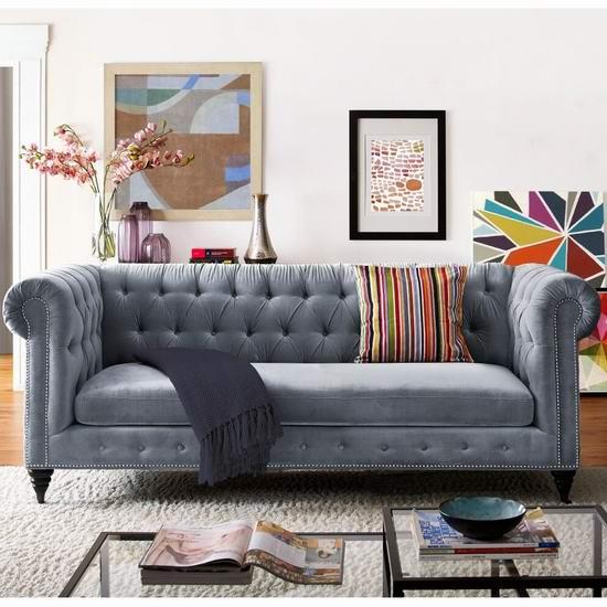 白菜价!历史新低!TOV Furniture TOV-S48 复古绒面 长款沙发1.9折 388.62加元包邮!
