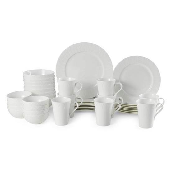 独家白菜:Mikasa Dorchester 白色顶级骨瓷餐具40件套装1.9折 139.99加元包邮!